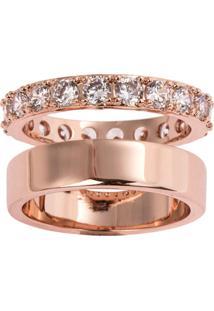 Anel Duplo The Ring Boutique Liso E Cravejado De Zircônias Em Ouro Rosé