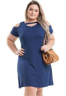 Vestido Evasê Azul Miss Masy Plus