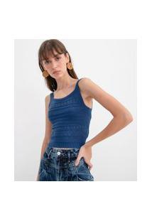 Blusa Cropped Em Tricô Com Detalhes Vazados   Blue Steel   Azul   M