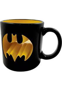 Caneca Porcelana 3D Batman Logo Vazado Geek10 Preto
