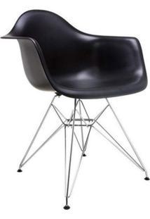 Cadeira Com Braços E Pés Cromados Flórida Siena Móveis Preto