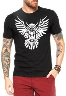 Camiseta Criativa Urbana Coruja Tattoo - Masculino-Preto