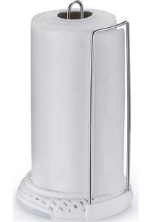 Porta Papel Toalha Em Aço Rattan Cromado E Branco