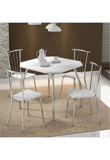 Mesa 1504 Branca Cromada Com 4 Cadeiras 154 Fantasia Branca Carraro