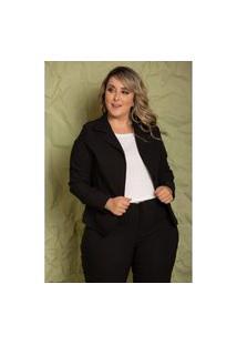 Blazer Camille Black Plus Size Domenica Solazzo Casacos Preto