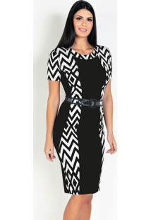 Vestido Com Recortes Geométrico Moda Evangélica