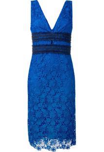 Diane Von Furstenberg Vestido Midi Com Renda Floral - Azul