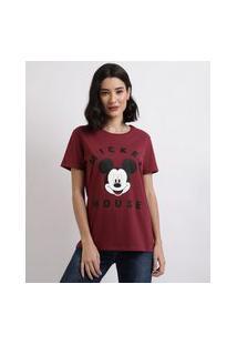 Blusa Feminina Mickey Manga Curta Decote Redondo Vinho