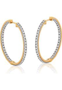 Brinco De Ouro 18K Argola Com Diamantes-Coleção Vangues D'Amour