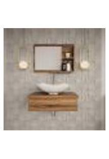 Conjunto Para Banheiro Bancada Com Cuba L42 Abaulada E Espelheira City 601 Nogal