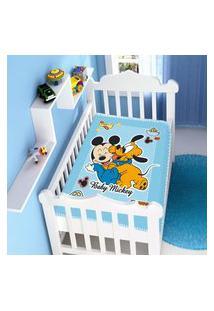 Cobertor Menino Jolitex Disney Baby Mickey E Pluto Divertido Azul