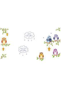 Adesivo De Parede Owl Message- Verde & Azul- 60X90Cmevolux