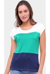 Blusa Lecimar Listrada Feminina - Feminino-Verde