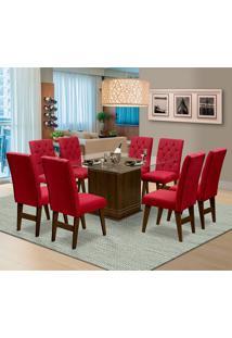 Mesa Para Sala De Jantar Saint Louis Com 8 Cadeiras – Dobuê Movelaria - Castanho / Vinho