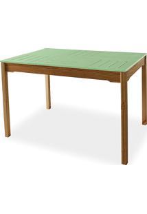 Mesa Para Cozinha De Madeira Maciça Taeda Com Tampo Colorido Olga Verniz Capuccino E Verde Sálvia 120X80X75Cm