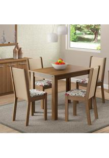 Sala De Jantar Cíntia Mesa Com 4 Cadeiras Rústico/ Crema/ Hibiscos