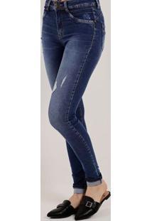 bccd2390d Lojas Pompeia. Calça Jeans Push-Up Feminina Sawary Azul