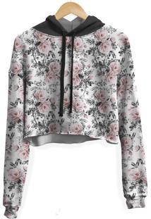 Blusa Cropped Moletom Feminina Over Fame Floral E Folhas