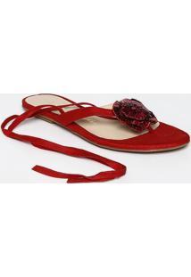 Sandália Rasteira Com Flor - Vermelhaluiza Barcelos