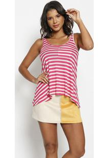 Blusa Listrada Com Bolsos - Pink & Bege Claro - Thipthipton
