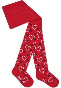 Meia Calça Corações- Vermelha & Brancahappy Socks