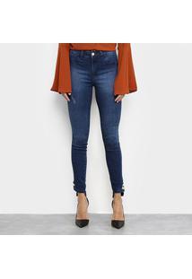 Calça Jeans Skinny Coffee Estonada Botões Barra Feminina - Feminino-Azul