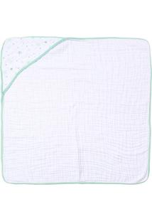 Toalha De Banho Papi Soft Com Capuz- Branca & Verde-Papi