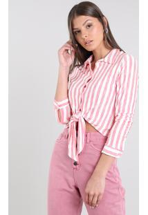 Camisa Feminina Cropped Listrada Com Nó Manga Longa Off White