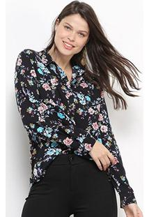 Camisa Social Facinelli Floral Manga Longa Feminina - Feminino-Preto