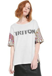 Camiseta Triton Estampada Off-White/Rosa