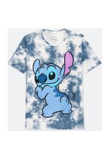 Blusa Manga Curta Em Algodão Tie Dye Estampa Stitch   Disney   Azul   P