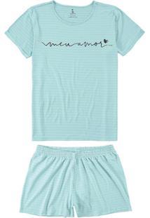 Pijama Azul Listrado Meu Amor