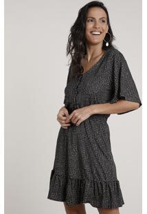 Vestido Feminino Curto Estampado De Poá Com Babado Manga Curta Preto