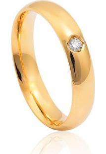 Aliança De Ouro 18K Anatômica Abaulada Polida Com Diamante (4,80Mm)