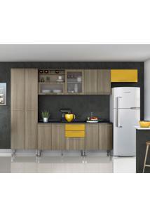 Cozinha Compacta Cheff I 11 Pt 3 Gv Carvalho E Amarelo Gema