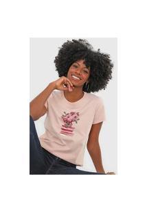 Camiseta Scene Floral Rosa