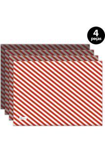 Jogo Americano Mdecore Natal Listras 40X28 Cm Vermelho 4Pçs
