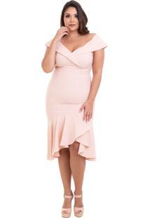 Vestido Izad Midi Em Crepe Plus Size Rosa