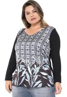 Blusa Cativa Plus Estampada Preta/Azul