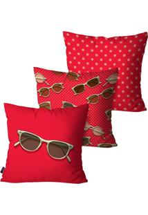 Kit Com 3 Capas Para Almofadas Pump Up Decorativas Vermelho ÓCulos 45X45Cm - Vermelho - Dafiti