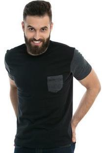 Camiseta D'Affari Estonada Black Com Bolso - Masculino-Preto