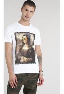 Camiseta Masculina Mona Com Óculos Manga Curta Gola Careca Branca