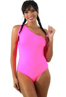 Body Neon Um Ombro Só Feminino - Feminino-Rosa