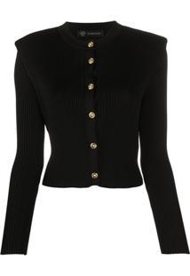Versace Cardigan Com Ombros Estruturados - Preto