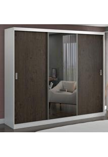Guarda-Roupa Casal 3 Portas Com 1 Espelho 100% Mdf 1904E1 Branco/Málaga - Foscarini