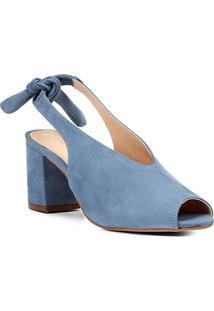 Sandália Couro Shoestock Salto Bloco High Vamp Feminina - Feminino-Azul