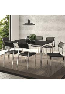 Mesas 1526 Preta Cromada Com 6 Cadeiras 1709 Cromada Preta Carraro