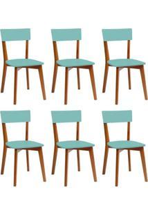 Conjunto Com 6 Cadeiras Tóquio Mel E Turquesa