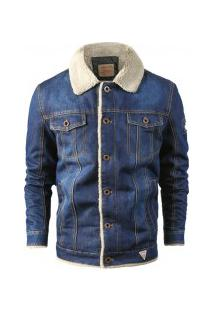 Jaqueta Masculina Jeans Com Bolso Frontal - Azul Escuro