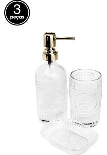 Conjunto 3Pçs Para Banheiro De Vidro Lux Dourado Prestige